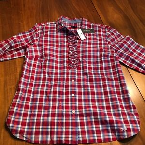 TALBOTS Size 14 Plaid Shirt TOP NWT Button Down